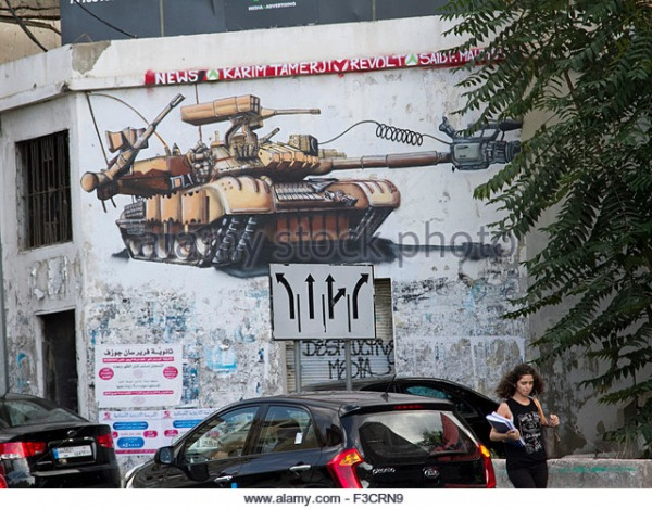 Mural of the tank on the ex army checkpoint's wall