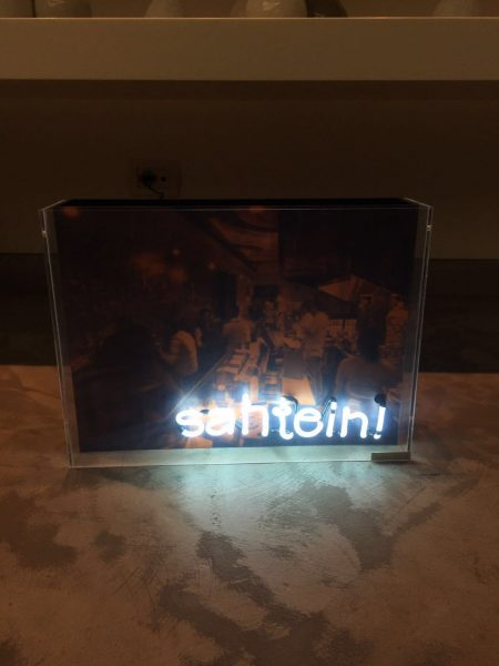Sahtein neon sign, made by Hania Rayess